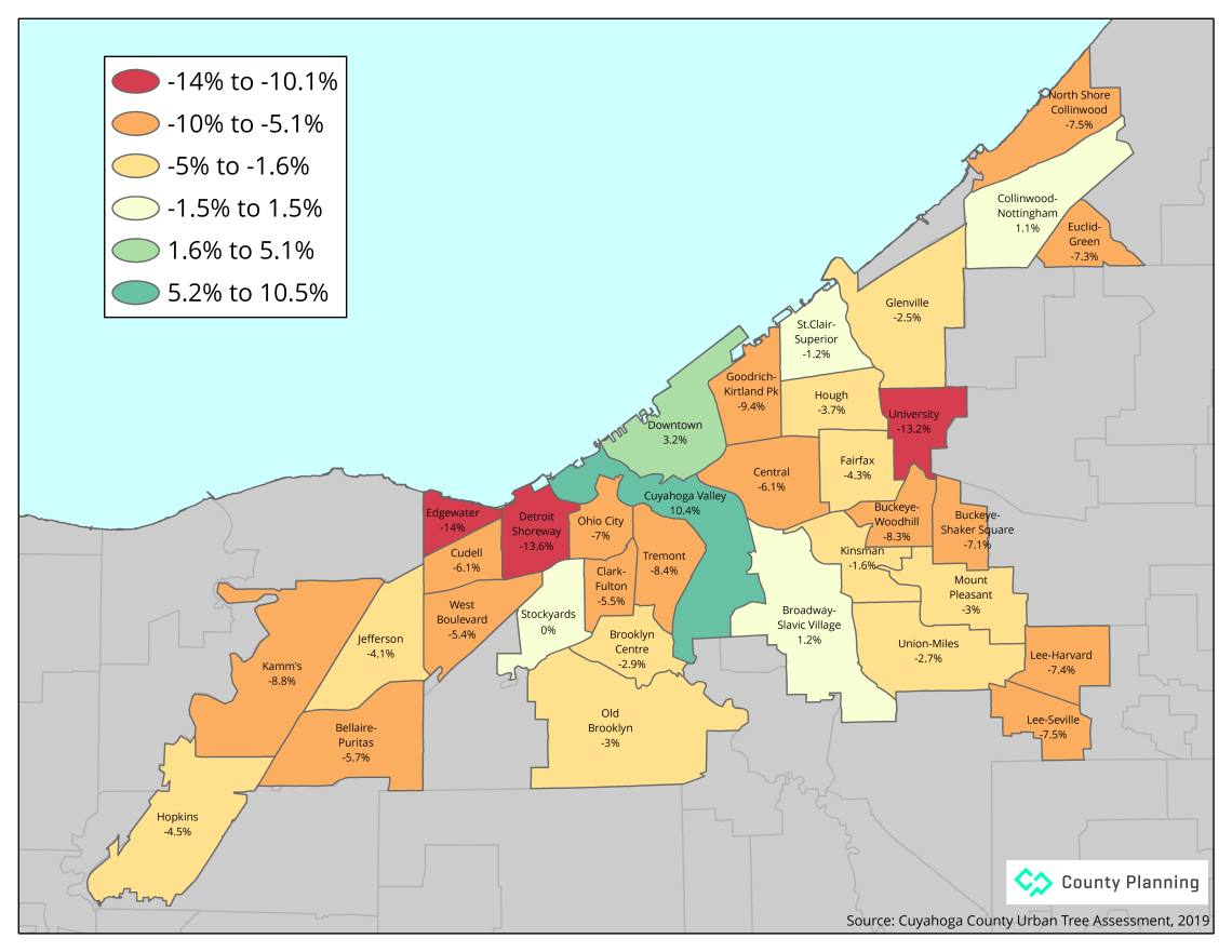 Map of tree canopy change by Cleveland neighborhood