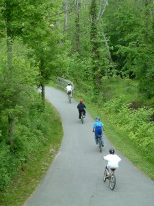 a group of bicyclists using a trail