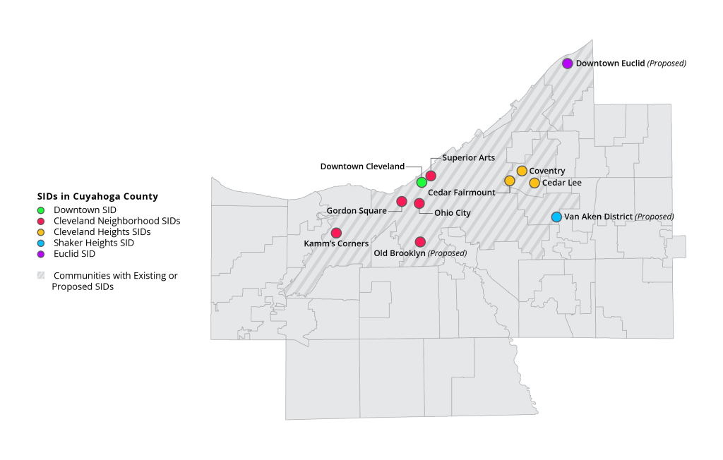 Map of existing SIDs in Cuyahoga County