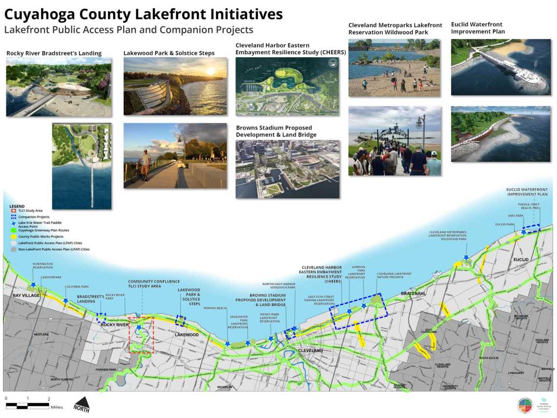 map of the Cuyahoga County Lakefront Public Access Plan and companion projects