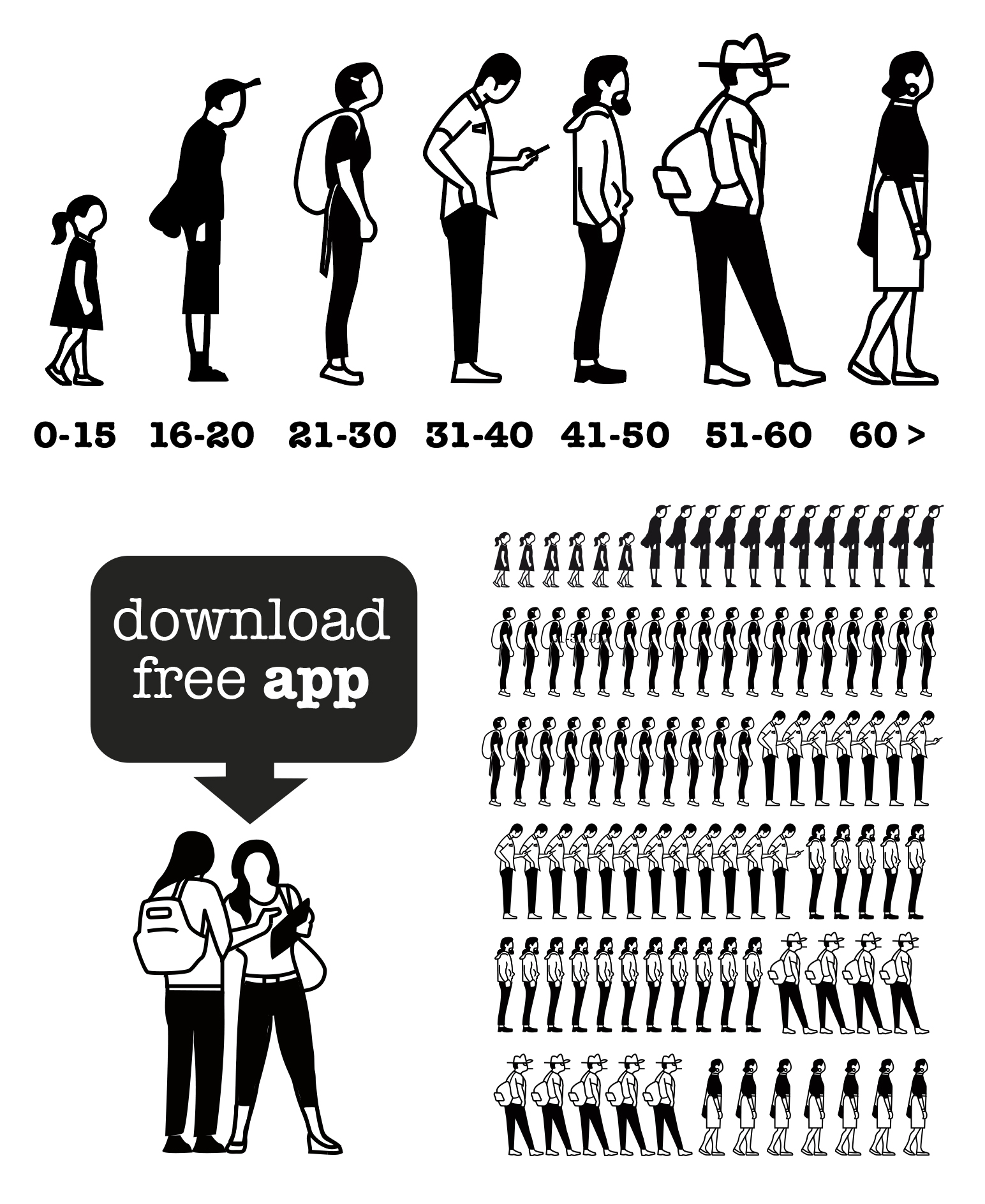 Gerd Arntz inspired statistics (2014) for the Anne Frank