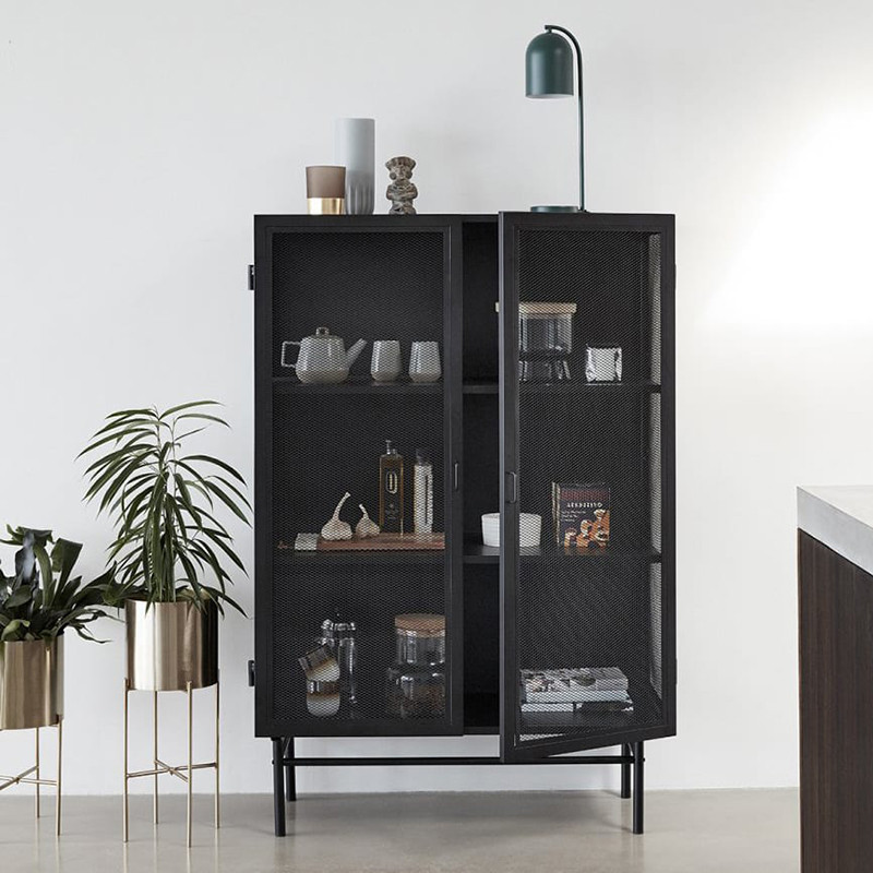 meuble vitrine metal noir industriel 2 portes sur cdc design