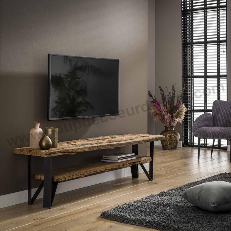 meuble tv bois brut tronc d arbre industriel sur cdc design