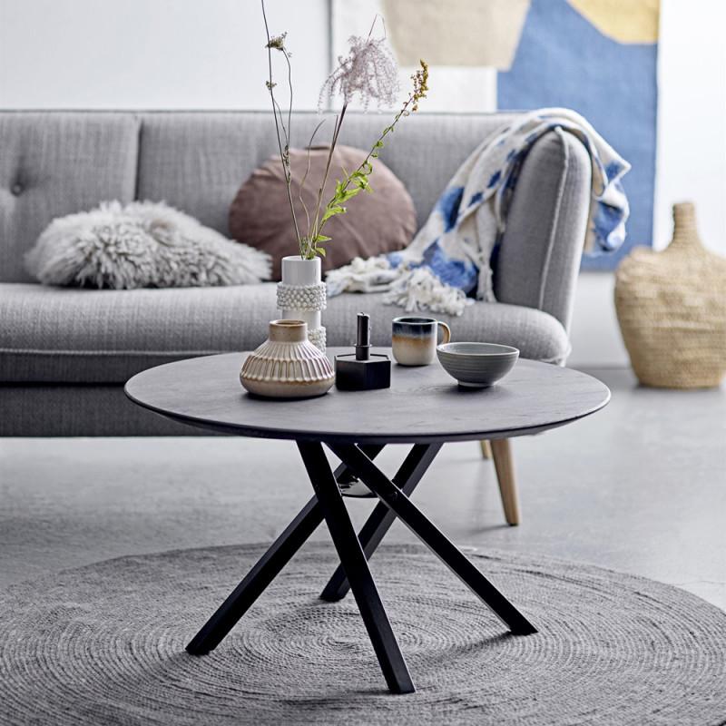 table basse ronde noire design en bois et metal sur cdc design