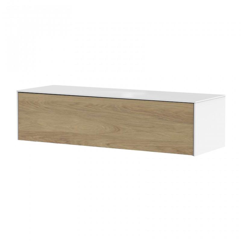 meuble tv suspendu blanc et bois sur cdc design