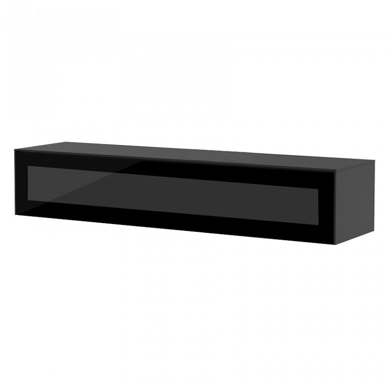 meuble tv suspendu bois et noir sur cdc