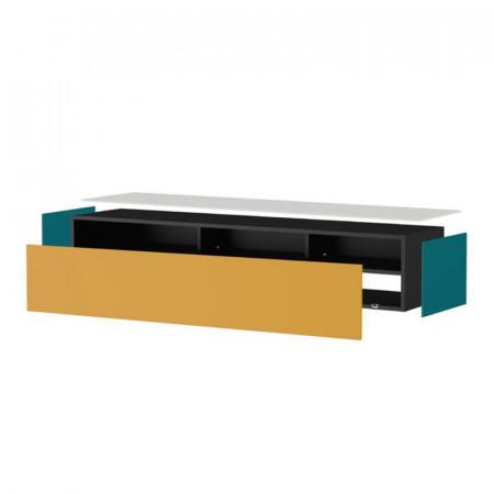 meuble tv suspendu taupe et blanc porte infrarouge toile reference cd tv96b 02