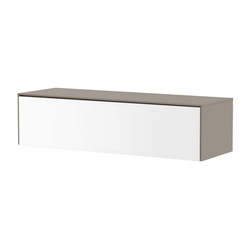 meuble tv suspendu blanc et taupe sur cdc design