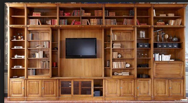 bibliotheque meuble tv bois massif
