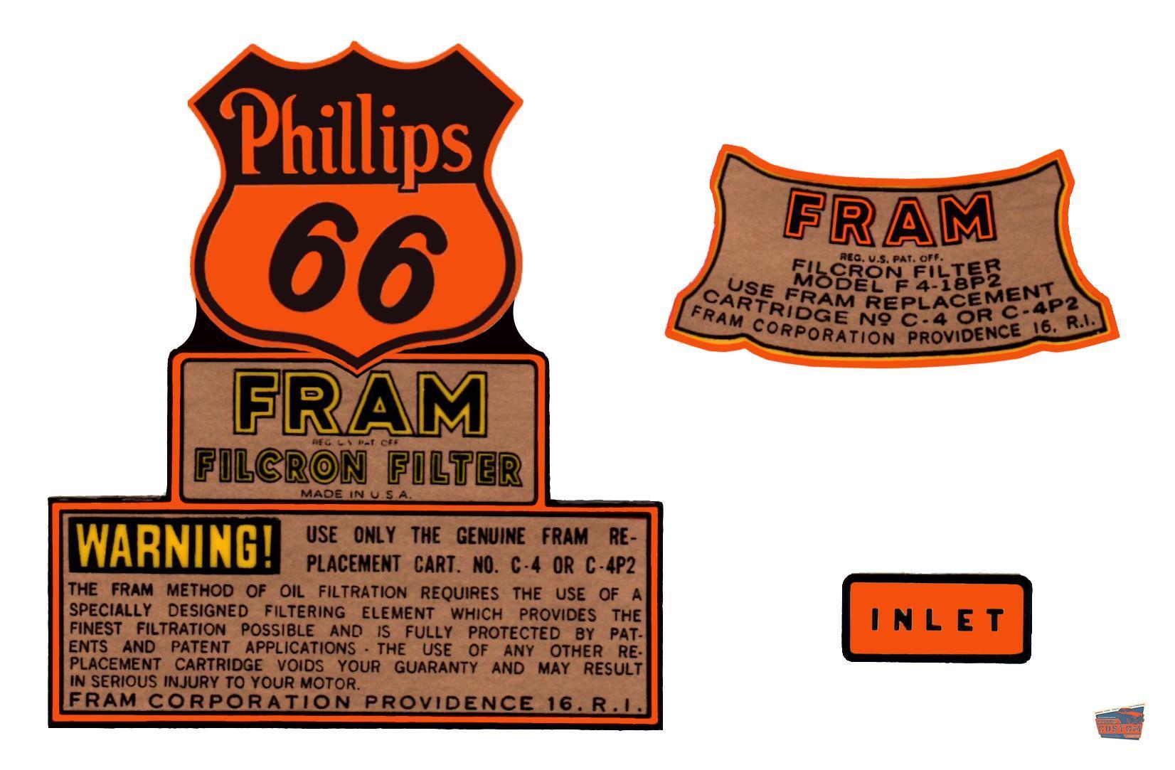 Phillips  Fram Oil Filter Decal
