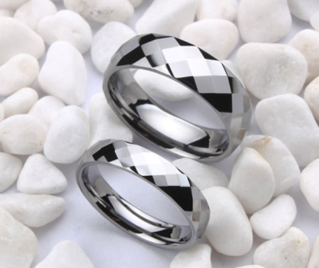 Beautiful Faceted Tungsten Carbide Couple Wedding Pair