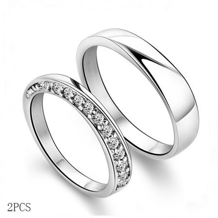 Silver Matching Promise Rings for Boyfriend and Girlfriend