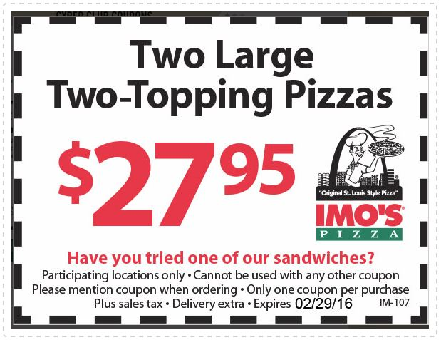 Printable Imospizza.com Coupon: 2 Large 2-Topping Pizzas for just $27.95