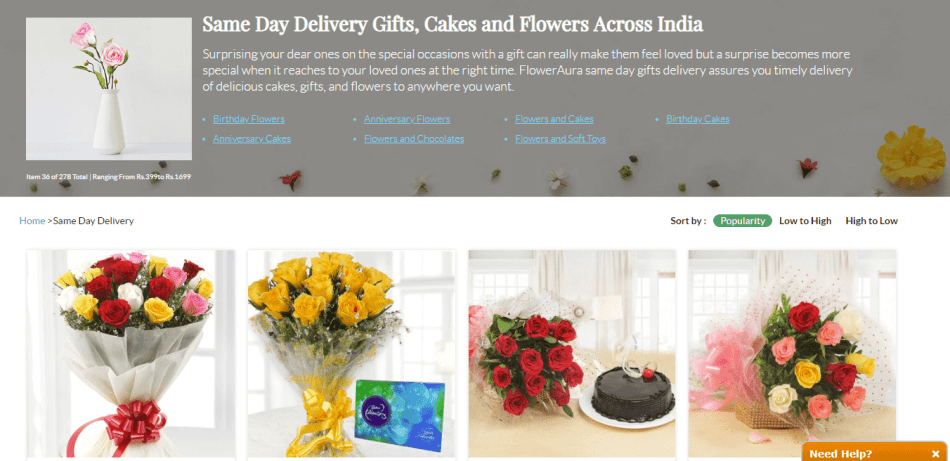 floweraura same day delivery offer