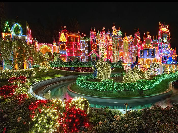 colorful disneyland night christmas decorations