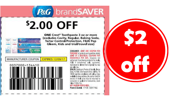 photograph about Crest Coupons Printable named $2 Crest Toothpaste Coupon \u003d Absolutely free toothpaste! - CouponMom Blog site