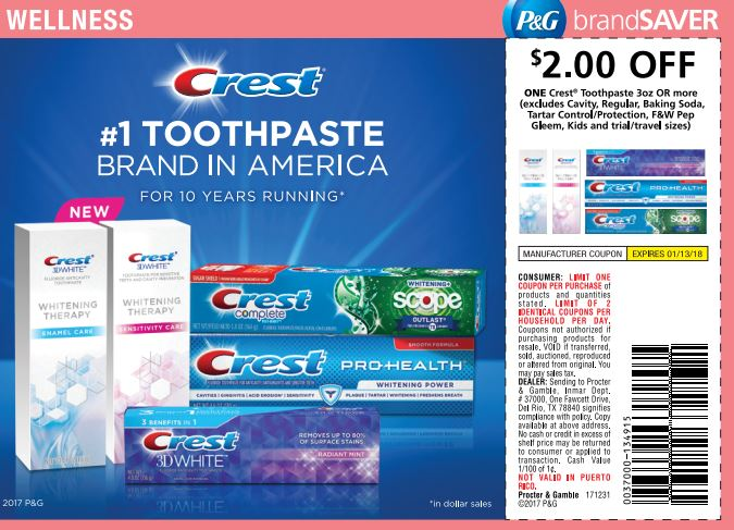 photograph relating to Crest Coupons Printable identified as Cost-free Crest Toothpaste with contemporary $2 Coupon - CouponMom Weblog