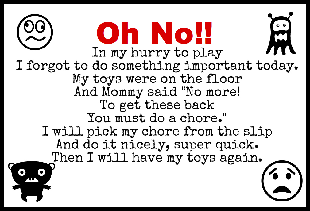 Oh No Chore Toy Box: In My Hurry to Play I Forgot to do
