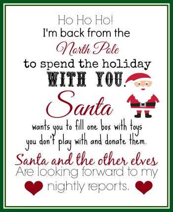 Elf Returns Letter With Instructions to Donate Toys - Coupons Are Great || Elf on the Shelf Ideas for Arrival: 10 Free Printables! || Letters from Santa Blog