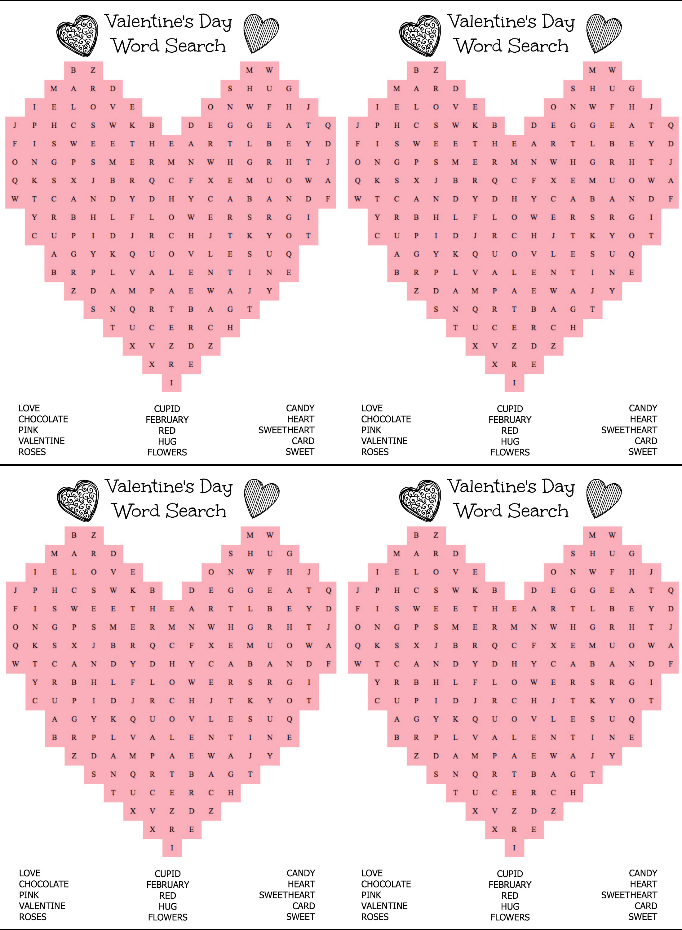 Free Printable Heart Shaped Valentine S Day Word Search