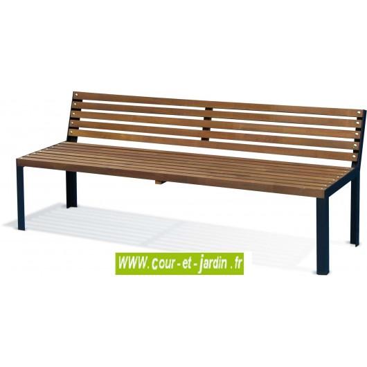 banc de jardin en bois et metal selekt banc avec dossier