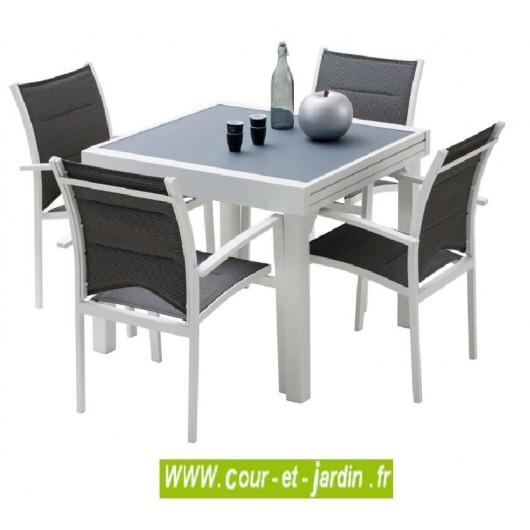 salon jardin aluminium modulo 4 blanc 4 fauteuils avec textilene gris perle