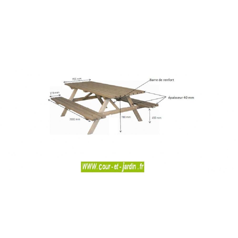 table pique nique bois avec banc s