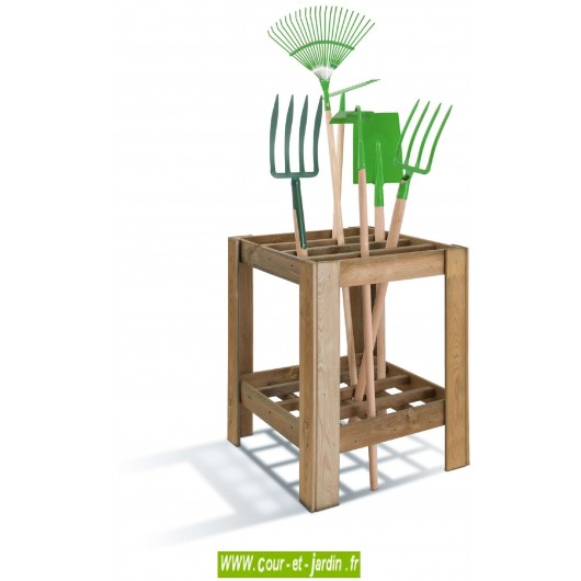range outils pratik en bois traite ratelier outils de jardin