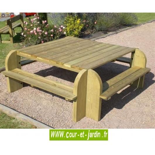 table avec banc en bois carree elite table de pique nique bois