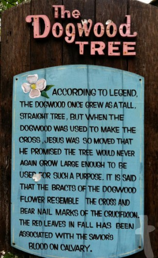 The Dogwood Tree (Legend Plaque at Dollywood) - According to legend, the Dogwood once grew as a tall, straight tree, but when the Dogwood was used to make the cross, Jesus was so moved that He promised the tree would never again grow large enough to be used for such a purpose. It is said that the bracts of the Dogwood flower resemble the Cross and bear nail marks of the crucifixion. The Red leaves in fall has been associated with the Savior's Blood on Calvary.