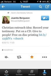 Testimonial on CD tweet