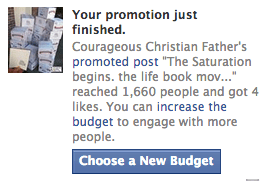 Screen shot: Courageous Christian Father Page on Facebook Promoted results