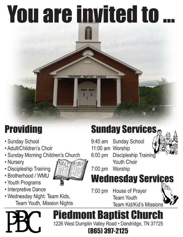 Piedmont Baptist Church Times of Services & Events
