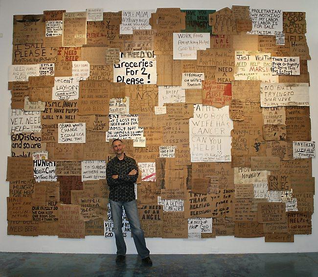 Willie Baronet Homeless Signs Artwork | Photo Courtsey Willie Baronet