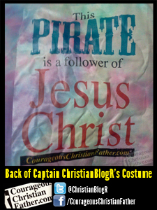 Back of Captain ChristianBlogR's Costume (This Pirate is a follower of Jesus Christ)