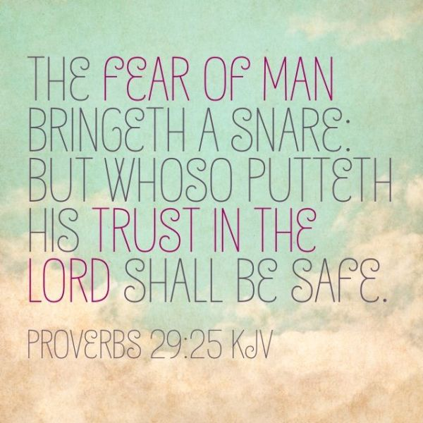 """""""The fear of man bringeth a snare: but whoso putteth his trust in the Lord shall be safe."""" Proverbs 29:25"""