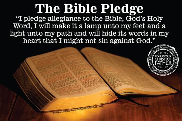photograph regarding Pledge to the Bible Printable named The Bible Pledge Brave Christian Dad