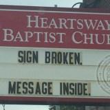 Heartsway Baptist Church - Church Sign - Sign Broken Message Inside - Knoxville, TN