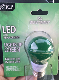 TCP Green LED light bulb
