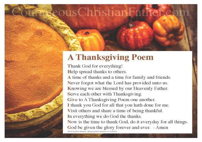 Thanksgiving Poem Printable by Steve Patterson
