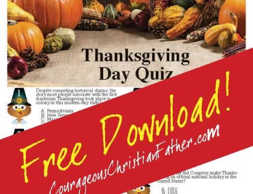 Thanksgiving Day Quiz Printable