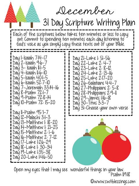December 31 Day Scripture Writing Plan