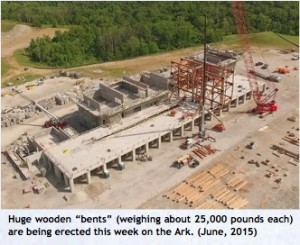 "Huge wooden ""bents"" (weighing about 25,000 pounds each) were erected in June 2015 on the Ark Encounter."