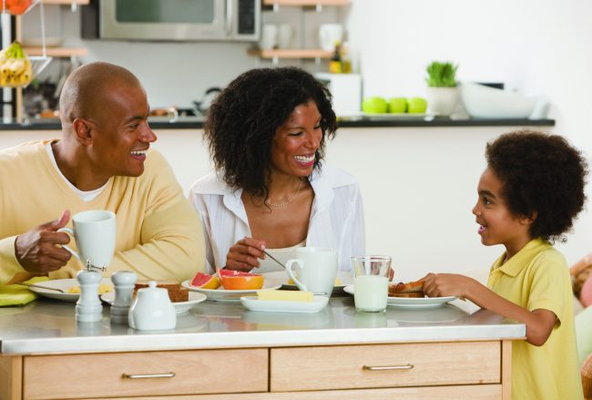 Family eating breakfast. - Food Allergies Can Cause Nutrition Gaps
