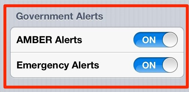 Government Alerts iPhone Notification Setting - Wireless Emergency Alerts