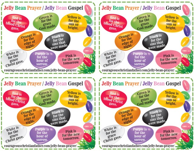 Jelly Bean Prayer Printable - Jelly Bean Gospel Printable 4 to a page