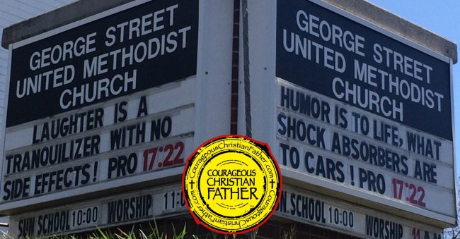 Proverbs 17:22 Church Sign - George Street United Methodist Church