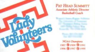 Pat Head Summitt Business Card - Pat Summitt Business Card