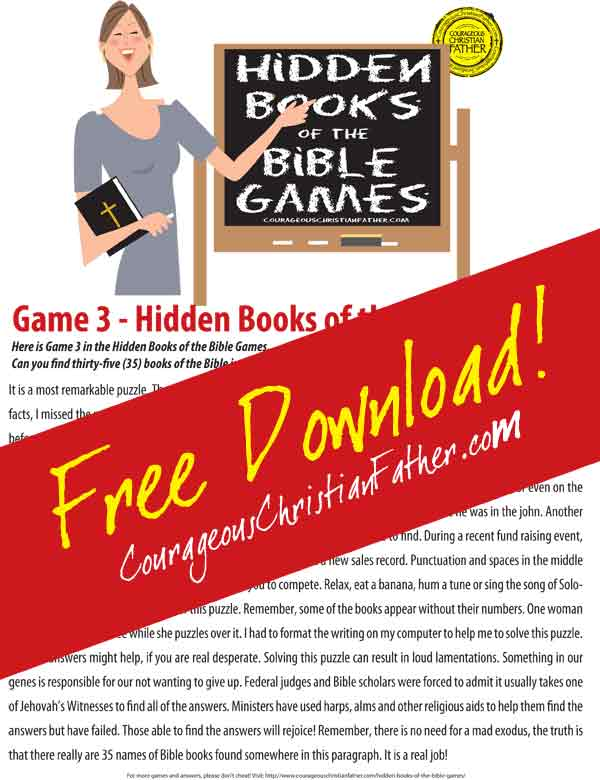 Hidden Books of the Bible - Game 3 Free Easter Printables