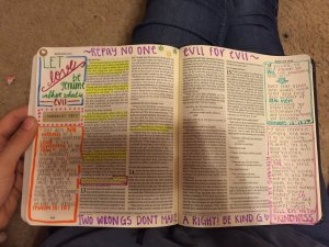 Georgia Teen Gives Boyfriend a Filled in Journaling Bible for Christmas - two wrongs don't make a right - love genuine - love does no wrongs